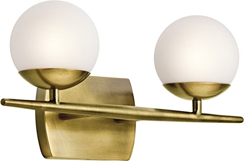 (Kichler 45581NBR Jasper 2-light bath Vanity in Natural Brass)