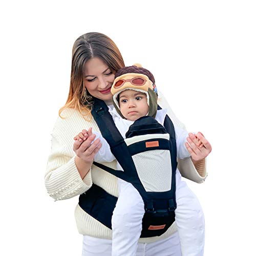 besrey Baby Carrier Child Carrier Convertible Hip Seat with 100% Cotton 4 Positions and 3 Stage for Infant Baby 7 to 55Lbs Breathable and Comfortable – Black