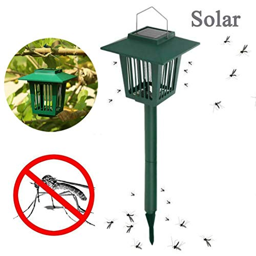 GONGting Solar Mosquito Zapper - LED UV Radiation Light Pest Bug Zapper Insect Mosquito Killer Lamp - Outdoor Stake Landscape Fixture for Gardens, Pathways, Lawn and Patios
