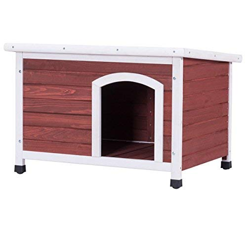 TANGKULA Dog House Outdoor Wooden Home Weather Resistant Pet Shelter Log Cabin (M)