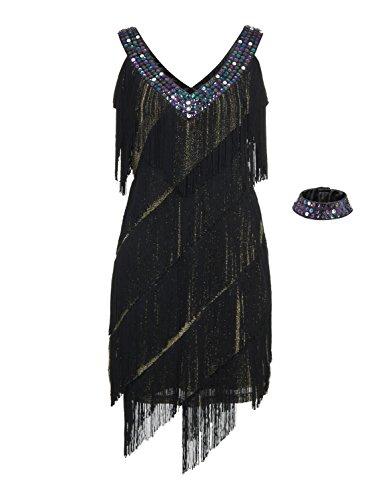 [JustinCostume Women's 1920s Theme Fringes Costume (Large, Gold)] (Roaring 20s Flapper Costume)