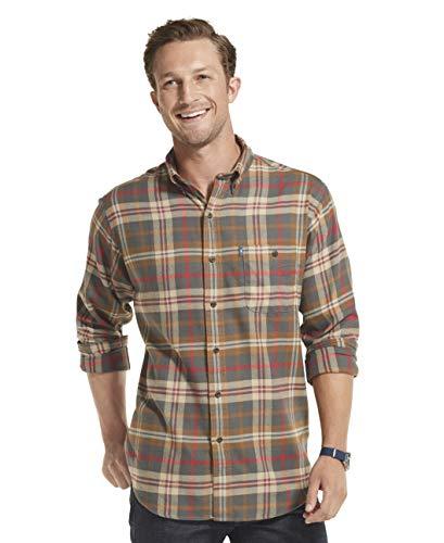 G.H. Bass & Co. Men's Fireside Flannels Long Sleeve Button Down Shirt, Dark Shadow, Small