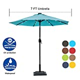 Cheap Sundale Outdoor 7 ft Solar Powered 24 LED Lighted Patio Umbrella Table Market Umbrella with Crank and Push Button Tilt for Garden, Deck, Backyard, Pool, 8 Steel Ribs, Polyester Canopy (Blue)