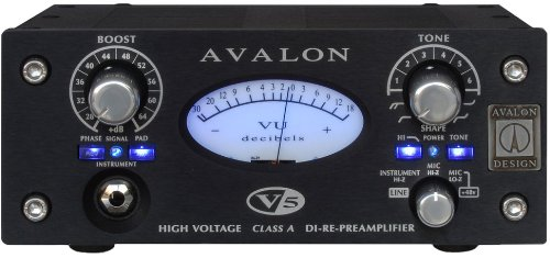 Avalon Design V5 B | Pure Class A DI-RE-Microphone Preamplifier 10 Tone-Bank EQ Black