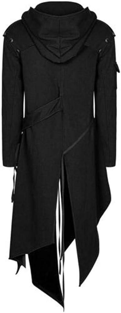Mens Matrix Trench Coat Steam Punk Gothic baskuwish Mens Asymmetrical Zip Up Jacket