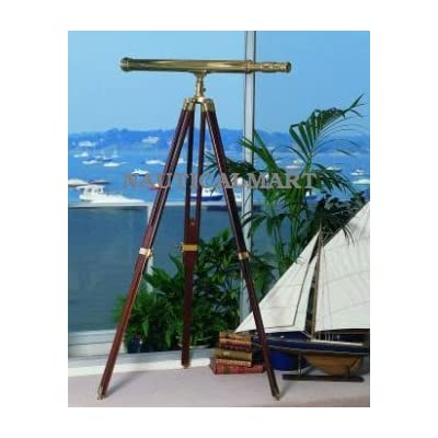 Nauticalmart Handcrafted Floor Standing Harbor Master Brass Telescope with Tripod Stand by Nauticalmart: Office Products