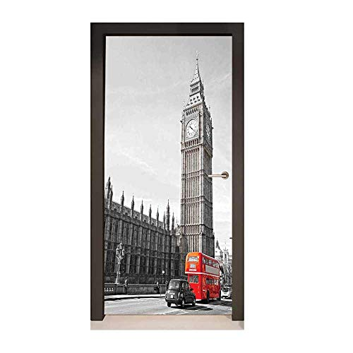 (London 3D Door Sticker Big Ben Tower Begining of Westminster Bridge with Black Cab and Red Bus Image for Home Room Decoration Grey Black Red,W23.6xH78.7)