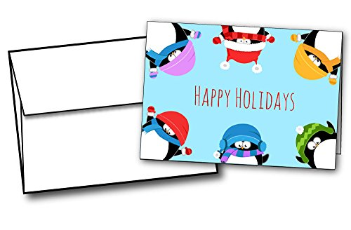 Penguin Border Happy Holiday Cards - 20 Greeting Cards and Envelopes ()
