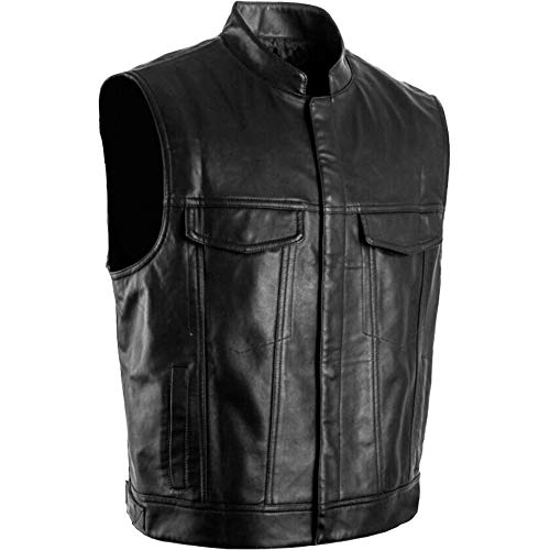 Unique Crazy Style Men Motorbike Leather Biker Club Vest Waistcoat Real Leather Vest (XS) Black