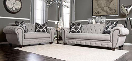 Furniture of America 2 Piece Bowie Modern Victorian Tufted Sofa Set, Gray (Set Sofa Style)
