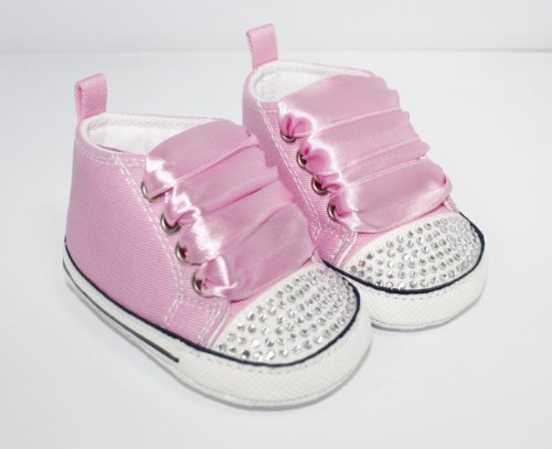 Converse Style baby pram shoes with crystals and ribbons 12-18 MONTHS PINK