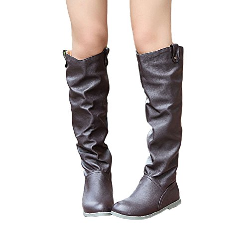 length flatform knee boots Brown Riding faux Women's Nonbrand shoes leather wPqxTF4x