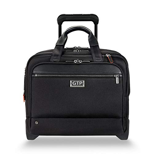 (Briggs & Riley @work Medium 2-wheel Expandable Briefcase (Black, Monogramming Included))