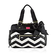 Betsey Johnson 3pc Zig Zag Weekender Multi-Function Diaper Satchel Tote Bag with Changing Mat - Cream/Black