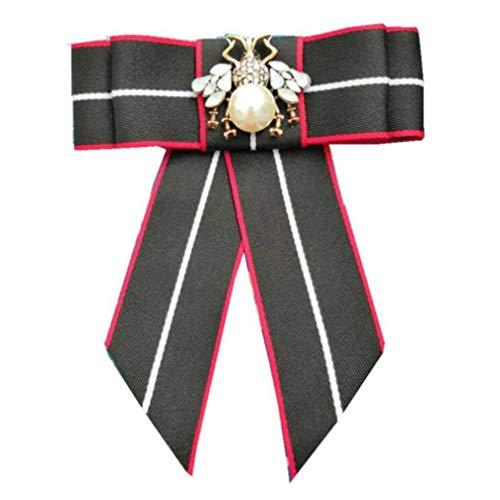 Ribbon Crystal Neck Tie Brooch Pin Bow Tie for Men Women, HAPPYTRY Patriotic Collar Jewelry Gift (Black)