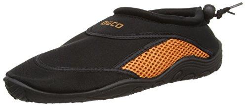 BECO Badeschuhe / Surfschuhe für Damen und Herren schwarz/orange 43