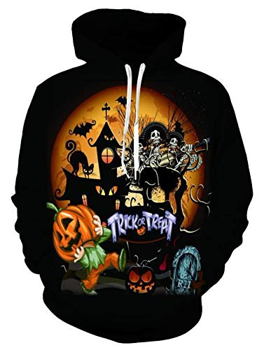 Leon's shop 3D Hoodie Digital Print Halloween Pumpkin Lovers, M -