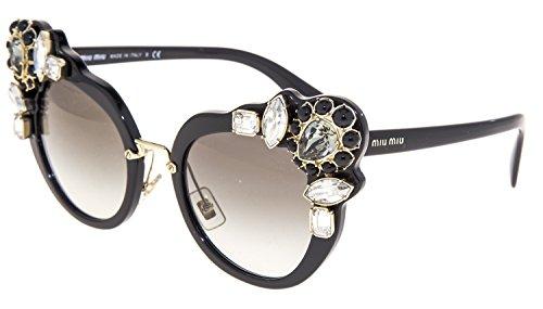 702193ef4f21 MIU MIU RUNWAY JEWEL 04S Shiny Black Mirrored Butterfly Sunglasses MU04SS