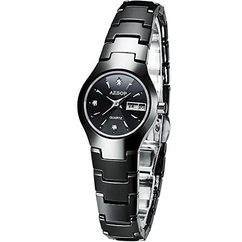 Ceramic Lovers Couple Watch Women Men Date Sapphire Crystal Quartz Wristwatch Ladies Watches (Women) by Gosasa
