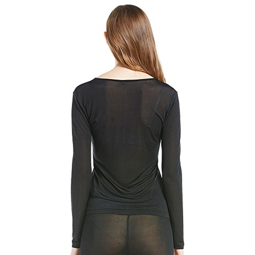 LILYSILK Jersey Mujer Semitransparente Mangas Largas 100% Seda Natural, Super Cómodo y Transpirable Negro