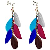 Vintage Multi Color Feather Clip on Earrings Long Chain Dangle Bead Stone for Girls Women Gift