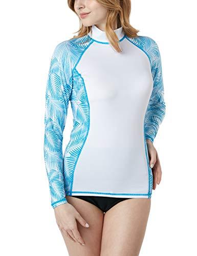 TSLA Women's UPF 50+Swim Shirt Rashguard Long Sleeve FSR Series, Sleeve Side Panel(fsr44) - Tropical White, - Rash Guards Women