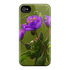 Perfect Purple Flowers Case Cover Skin For Iphone 4/4s Phone Case
