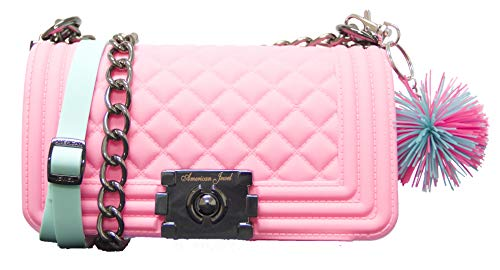 Danielle Boy Bag Purse - Silicone Shoulder Bag with Adjustable Straps - Pink  - Light Aqua Strap- Pom Pom Keychain - Girls & Teen Accessories  - -
