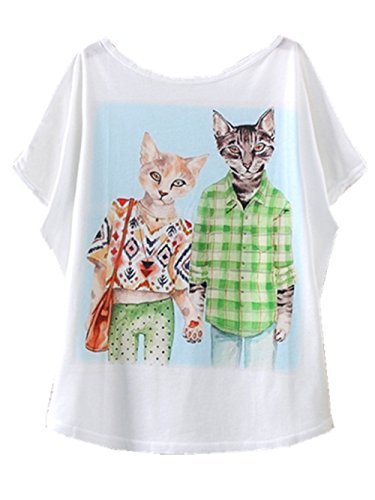 Yichun Femmes Filles Minces Tops Été T-shirt Des Manches Batwing Imprimé Cat Casual Wear 6 #