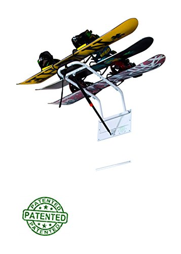 Snow Board Storage Rack by Zero Gravity Racks - Home or Garage Wall Mounted Snowboard Storage - Patented Snowboard Hanger Gas Strut Lift System (powder coat finish) by Zero Gravity Racks