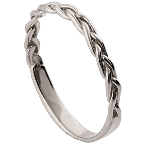Solid 18K White Gold Braided wedding Delicate Ring For Women His and Hers Stackable Band Sets Promise Stackable Band Celtic Woven
