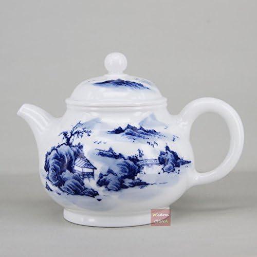 中国の景徳鎮 青と白の磁器 手描き 上海風景 ティーポット 280cc