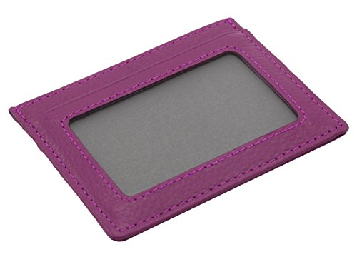 nbsp;– Con nbsp;in Rfid Blocking Unisex Small Copertura Porta Carte Finestra Brown Purple Sottile Vera Pelle Della RXnwgq4