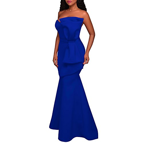 Off MuCoo Party Shoulder Bow Applique Blue The Maxi Evening Sexy Oversized Women's Dress Gown q4v4f6
