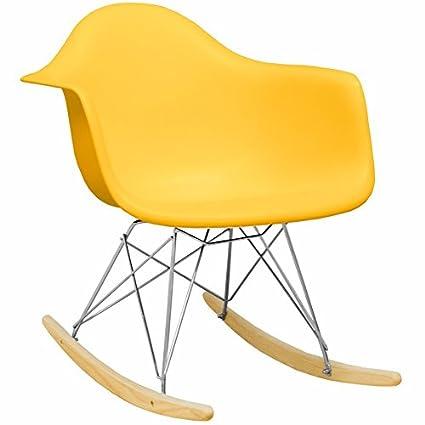 Mod Made Mid Century Modern Paris Tower Rocker Rocking Chair, Yellow