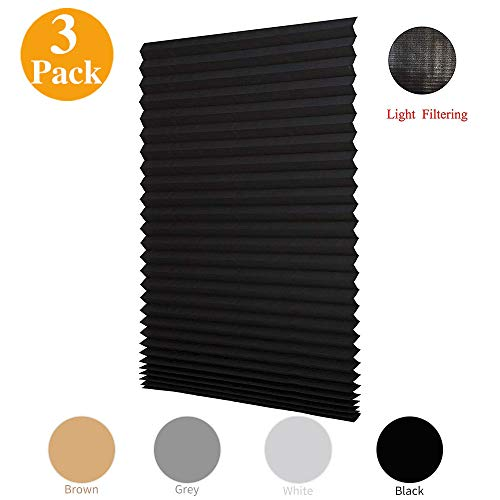 """LUCKUP 3 Pack Cordless Light Filtering Pleated Fabric Shade,Easy to Cut and Install, with 6 Clips (48""""x72"""" - 3 Pack, Black)"""