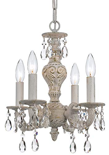 Crystorama 5024-AW-CL-MWP Crystal Accents Four Light Mini Chandeliers from Sutton collection in Whitefinish,