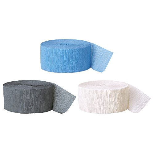 Andaz Press Crepe Paper Streamer Hanging Party Decorations Kit, 240-Feet, Baby Blue, Gray, White, 1-Pack, 3-Rolls, Boy Elephant Colored Wedding Baby Bridal Shower Birthday Supplies