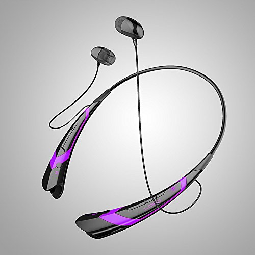 ZimIBL Multi-function Hbs-760 Wireless Music A2dp Stereo Bluetooth Headset Universal Vibration Neckband Style Headset Earphone Headphone for iPhone,Samsung,iPad,iPod,LG,HTC,Blackberry,Android Tablet and Enabled Bluetooth Devices Cellphones (Black-Purple)