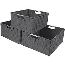Sorbus Storage Box Woven Basket Bin Container Tote Cube Organizer Set Stackable Storage Basket Woven Strap Shelf Organizer Built-In Carry Handles (Woven Basket Set - 3 Piece, Gray)