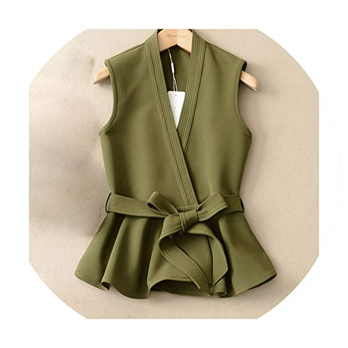 Puissant fishing-vests Waistcoat for Women Female Vest Lace Up Ruffles Slim Sleeveless Women's Vest Coat,Green,S (Patagonia Womens Classic Retro X Fleece Jacket)