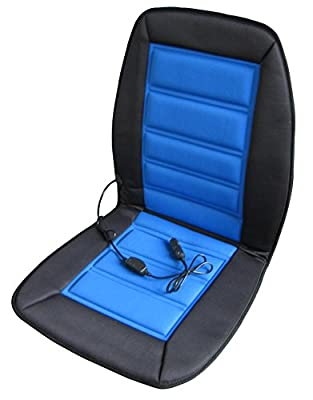 ABN Heated Car Seat Cushion 12V Adjustable Temp in Blue/Black, Heated Chair Cover for Vehicle, RV, or Office Chair