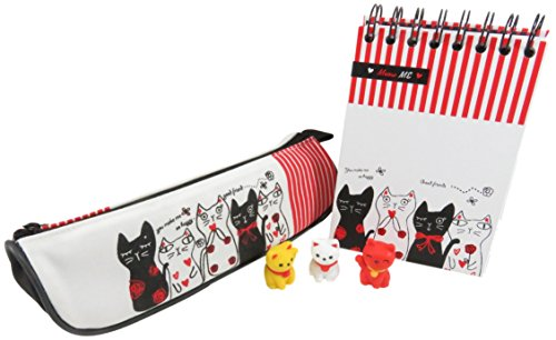 Kawaii Cat Pencil Pen Cosmetic Case Pouch Bag 8.75 x 2.75 Inches and Spiral Notebook with Mini Puzzle Cat Erasers (5 Piece Set)