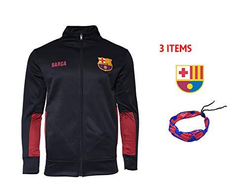 FC Barcelona Zip Up Jacket Hoodie Black Fleece Youth Boys Licensed & Sticker (Navy, YM)