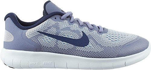 Girl's Nike Free RN 2017 (GS) Running Shoe (Wolf Grey/Blue, 5) by NIKE