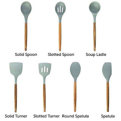 Silicone Cooking Utensils Kitchen Utensil set - 7 Natural Acacia Wooden Silicone Kitchen Utensils Set - Silicone Utensil Set Spatula Set - Silicone Utensils Cooking Utensil Set - Kitchen Tools Gadgets