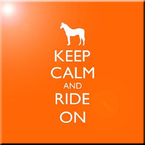 12 x 12 Rikki Knight Keep Calm and Ride On-Orange Color Design Ceramic Art Tile