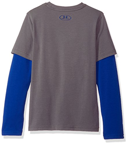 Under Armour Boys' Knit 2-in-1 Long Sleeve Shirt, Graphite (040)/Royal, Youth Large by Under Armour (Image #2)