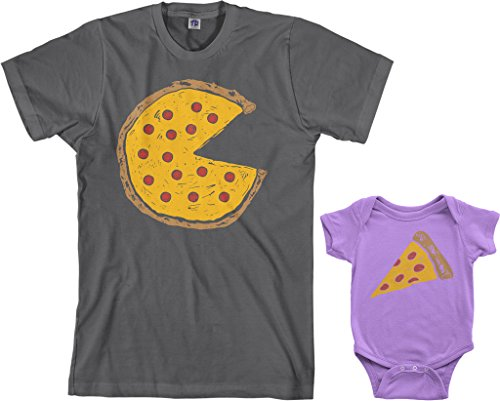 Threadrock Pizza Pie & Slice Infant Bodysuit & Men's T-Shirt Matching Set (Baby: 12M, Lavender|Men's: L, Charcoal)