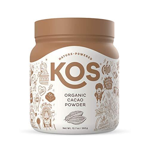 KOS Organic Cacao Powder - Raw Unsweetened Cacao Powder - Sugar Free, USDA Organic, Low Carb Plant Based Ingredient, 360.5g, 103 Servings